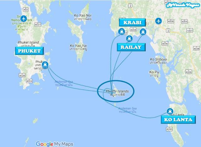 Mapa localização Phi Phi